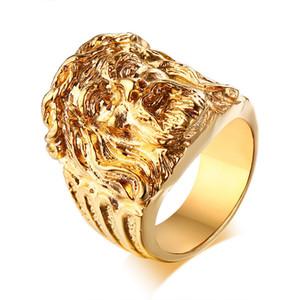 Mens Tom de Ouro Jesus Cabeça Retrato Anéis de Jóias de Aço Inoxidável Do Vintage Jóias Religiosas Presente para Oração Devota Cristã