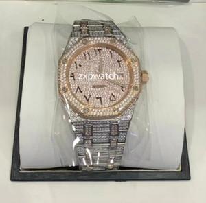 아랍어 다이얼 남성 시계 다이아몬드 시계 럭셔리 스파클링 아이스 아웃 힙합 시계 자동 42MM 두 톤 실버 금 스테인레스 장미