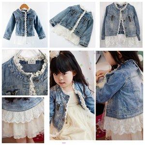 de nouvelles filles de dentelle denim design Filles Loisirs enfants Washed Veste de vêtements pour enfants Denim Pardessus Outwear