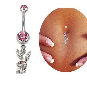 Sevimli Seksi Pembe Elmas Tavşan Dangle Göbek Halkası Belly Button Yüzükler Paslanmaz Çelik Vücut Piercing Takı