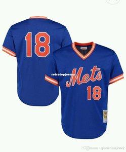 Ucuz YENİ MITCHELL NESS New York # 18 Çilek vurucu pratik MESH JERSEY Throwbacks Mens dikişli beyzbol formaları