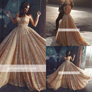 2019 neue funkelnde pailletten prom kleider gold kugelkleid formale parteikleid lange abend pageant kleider maßgeschneidert bc1457