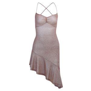 Sexy Mulheres Irregular Backless Bandage Mini vestido do verão Sling Strappy Sequins Glitter Sundress Ruffle Party Club Bodycon Vestido