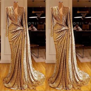 Sexy tiefer V-Ausschnitt formale Abendkleider 2020 Entwurf Saudi-arabischer Pailletten Abschlussball-Partei-Kleid-Kleid Robe De Soiree Sexy tiefer V-Ausschnitt Formal