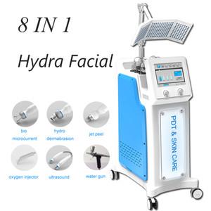 High Frequency 8 In 1 Hydra Dermabrasion Aqua water Peel الوجه آلة الجمال المائية Microdermabrasion BIO RF Ultrasonic Skin Scrober