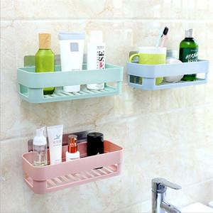 Cuarto de baño WC plástico estante de la cocina Caja de almacenamiento Organizador cesta de artículos de tocador de almacenamiento en rack montado en la pared del organizador del estante