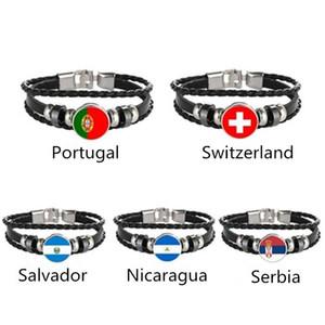 Portugal Suisse El Salvador Nicaragua Drapeau serbe Multilayer Bracelet en cuir Bracelet Mode hommes et femmes Bijoux