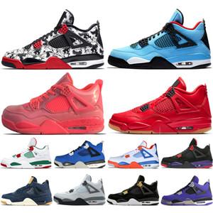 Economici New 4 Singles tatuaggio Giorno Travis Scotts Cactus Jack Raptors Mens Basketball Shoes 4s White Cement Famiglia reale degli uomini di sport scarpe da tennis delle donne