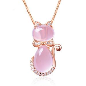 Nueva Llegada Lindo Rosa Rosa Opal Kitty Cat Colgante Collar Para Mujeres Niñas Niños Regalo Encantador de Cuarzo Romántico Joyería de La Boda