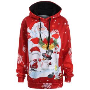 Otoño 2017 sudaderas con capucha de Navidad invierno de las mujeres más del tamaño de bolsillo canguro Santa Claus muñeco de nieve con capucha para las mujeres camisetas ocasionales