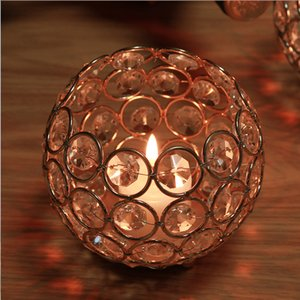 Tealight Modern Gold Wedding Decorations Home Decor Crystal Anniversary Celebration Candlestick Delicate Candle Holder