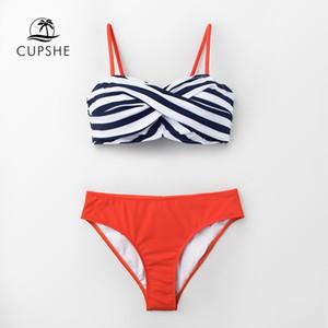 CUPSHE Siyah Şerit Ve Mandalina Wrap Bikini Kadınlar Push Up İki adet mayolar 2020 Kız Plaj Yıkanma Suits ayarlar