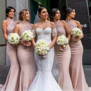 Halter Mermaid Bridesmaid Dresses Lace Top Sleeveless Zipper Back Maid OF Honor Dress Wedding Guest Dress