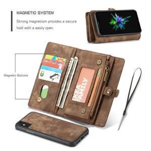 La moda de cuero magnético de la caja para el iPhone X 8 7 6 Plus caso de Samsung caso de la función multi Zipper la cartera de teléfono S10 Para Huawei P30