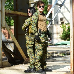 Taktische Militäruniform Anzüge Camouflage Schießen Jagd Hemden Hosen Elbow Knieschützer CS Airsoft Paintball Kleidung Sets