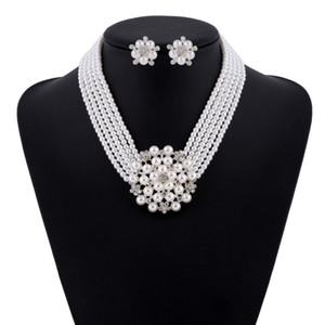 IN STOCK Full Pearls Bridal Jewelry Set Necklace Crystals Stud Earrings Wedding Jewelry Sets for bride Bridesmaids Party Accessories
