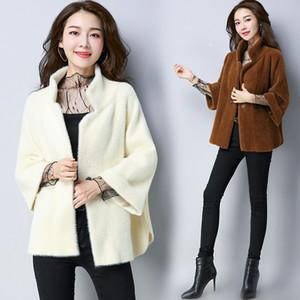 No verão de 2019 o novo suéter de tricô cardigan casaco de pele de imitação do sexo feminino longo cristal flocagem maré maomao casaco de vison
