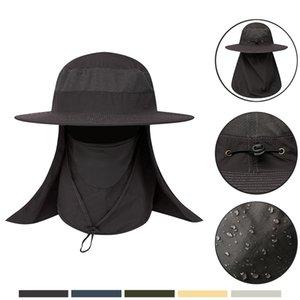 Europea y americana Pesca del sombrero del verano del Mens al aire libre de protección solar UV Protection Sombrero de Protección Solar cubierta impermeable y transpirable sombrero para el sol