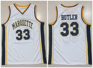 NCAA de basket-ball jresey Marquette Eagles d'or Jimmy Butler # 33 Blanc Rétro Basketball Jersey Hommes Cousu sur mesure taille throwback S-5XL