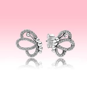 NOVO Sparkling céu aberto borboleta brincos Moda Mulheres Jóias de Pandora 925 Sterling Silver Earring conjunto com a caixa original