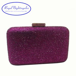Royal Nightingales Large Hard Box Crystals Clutch Purse Evening Bags Red Black Purple Navy White Silver Green Grey Gold CJ191209