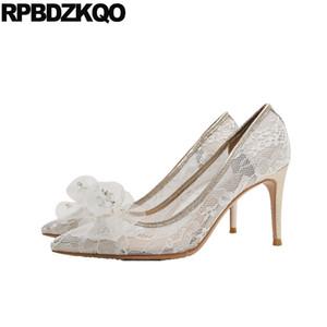 высокие каблуки алмаз слоновой кости кружева свадебные туфли лук сетки заостренный носок кристалл горный хрусталь 3 дюйма тонкий 10 42 мило насосы большого размера дамы