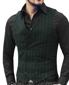 Mens Costume Casual Gilet col en V Notch Army Green Casual Waistcoat formelle à double boutonnage Veste affaires Groomman pour le mariage
