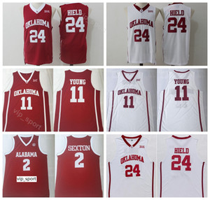 College Trae Young Jersey 11 Men Oklahoma Sooners كرة السلة Collin Sexton 2 Buddy Heild Jersey 24 Team Color Red White University Sale