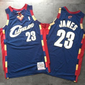 Мужчины баскетбола КливленднбаКавальерс23Леброн Джеймс Митчелл Ness ретро синий Swingman Джерси