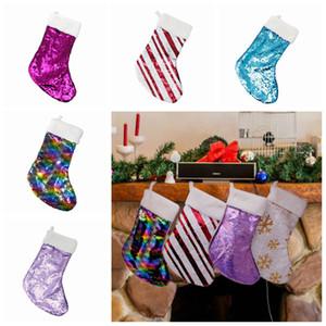 Décoration de Noël réversible Sequin Stocking Pendentif Accrocher Accessoires Candy Bag Cadeaux Party Sac Fournitures 5 couleurs ZZA1143