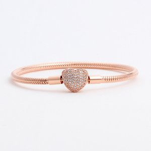 Classic gold bracelet for Pandora base chain heart buckle gold plated New heart shaped diamond snake chain fashion women single product