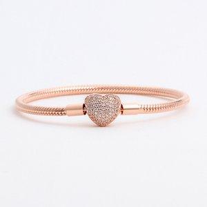 brazalete de oro clásico para Pandora cadena de base de corazón hebilla de oro chapado de las n en forma de corazón de diamantes de la cadena de serpiente solo producto