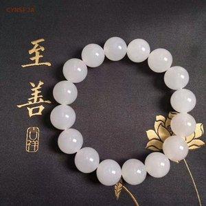 CYNSFJA Yeni Gerçek Sertifikalı Doğal Hetian Beyaz Jade Nephrite'nin Şanslı muskalar Erkek Kadın Jade Bilezikler Yüksek Kalite En Hediyeleri