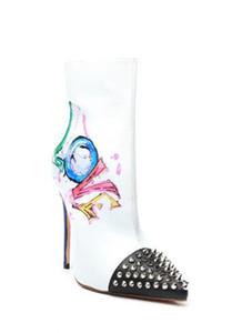 Rivets en cuir graffiti bottes courtes femme talon aiguille décoratif en métal peint bout pointu bottes simples