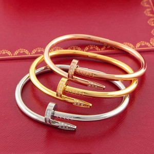 316L Titanium steel brand name nail punk lovers women and man bangle Couple Jewelry with gift box sets