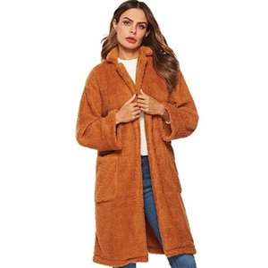 Crazy2019 Women's Faux Fur Faux Fur Winter Windbreaker Jacket Large Pocket Lapel Jacket Winter Windbreaker Parka Outerwear