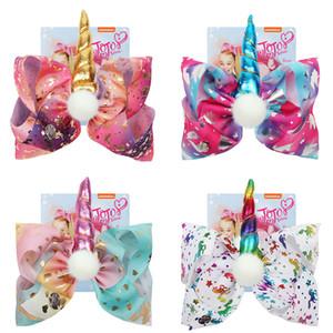 8 Inch Jojo Arcos Cabelo Couro Clipe Birthday Party Acessórios Big Mermaid Hair Bow Kid Cabelo Suprimentos 4styles RRA2225