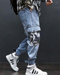 Pantaloni Mens Jeans allentati di moda lungo Mens carico con tasche Hiphop Light Blue