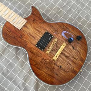 vendite calde corpo solido chitarra elettrica negozio Custom Map pannello trasparente marrone chitarra elettrica 6 stringhe Maple tastiera