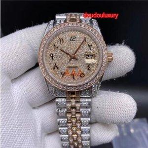 bi-rose di diamante orologio da uomo in oro con diamanti in acciaio inox cinturino in arabo orologio boutique numeri modo automatico orologio meccanico del calendario