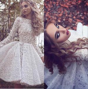 Arabo White Lace Maniche lunghe Una linea Cocktail Party Dresses alta Neck knee-lunghezza Corti Prom Gowns vestito da sera convenzionale BA3645