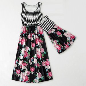 striped flower mother daughter dresses sleeveless mommy and me dress family matching clothes outfits look mom mum baby dress