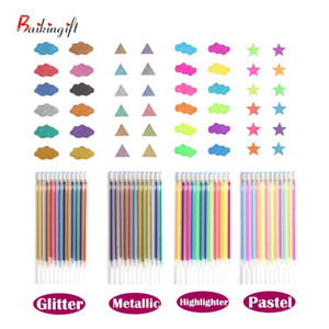 12 24 36 48 Colors Flash Gel Pen Highlight Cute Candy Color Full Shinning Refill For Children Painting Graffiti Art Supply