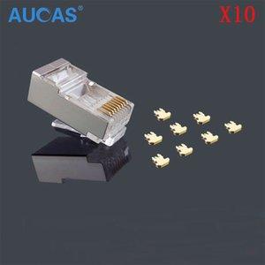 AUCAS 10 шт. / лот RJ45 сетевой кабель модульный разъем Cat5e Cat5 8P8C разъем конец металла щит Crystal Head