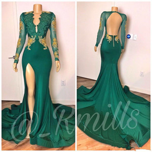 2020 Sexy Prom Dresses Mermaid Long Sleeves Hunter Green Gold Lace Beaded Deep V Neck Special Occasion Dresses Formal Evening Vestidos