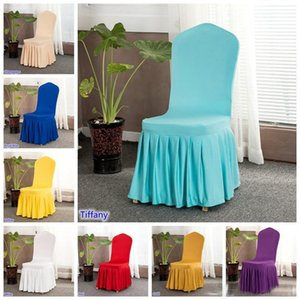 Wedding Party Chair Cover Restaurant Hotel Chair Cover Home Decors Seat Covers Spandex Pleated Ruffled Skirt Chair Cover for Wedding Party