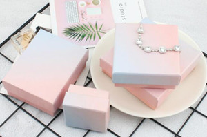 New ins Fashion Pink Blue Gradient Jewelry Packing Box Ring Necklace Bracelet Receiving Gift Multi-purpose Packing Box WL665
