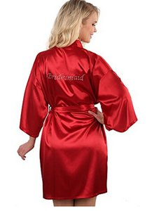 Sexy Yukata Night Robe Short Satin Wedding Bride Bridesmaid Robes With Clear Rhinestones-Bride&Bridesmaid Edition Dressing Gown