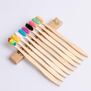 Natural Bamboo Handle Toothbrush Rainbow Colorful Soft Bristles Bamboo Toothbrush 10 colors with Box Package top quality LX1198