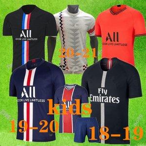 Hombres hijos kit Maillots de kit de fútbol 18 fútbol Jersey 2020 2021 Paris Inicio lejos jerseys 19 Mbappé TOUS UNIS CUARTA Mbappé Cavani